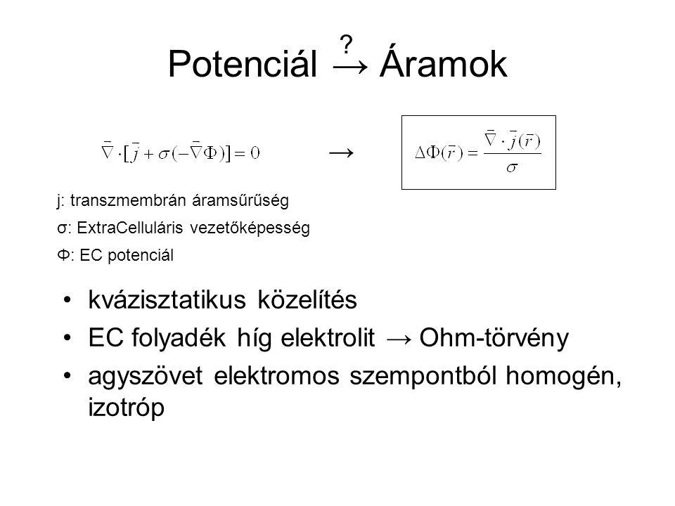 Potenciál → Áramok kvázisztatikus közelítés EC folyadék híg elektrolit → Ohm-törvény agyszövet elektromos szempontból homogén, izotróp → .