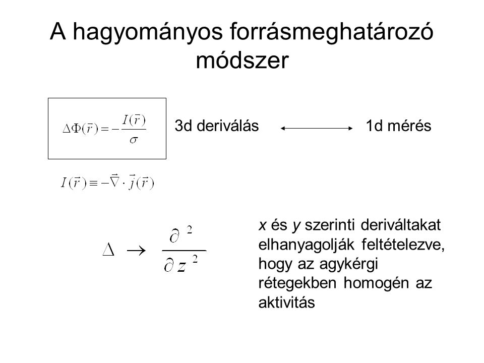 A hagyományos forrásmeghatározó módszer 1d mérés x és y szerinti deriváltakat elhanyagolják feltételezve, hogy az agykérgi rétegekben homogén az aktivitás 3d deriválás
