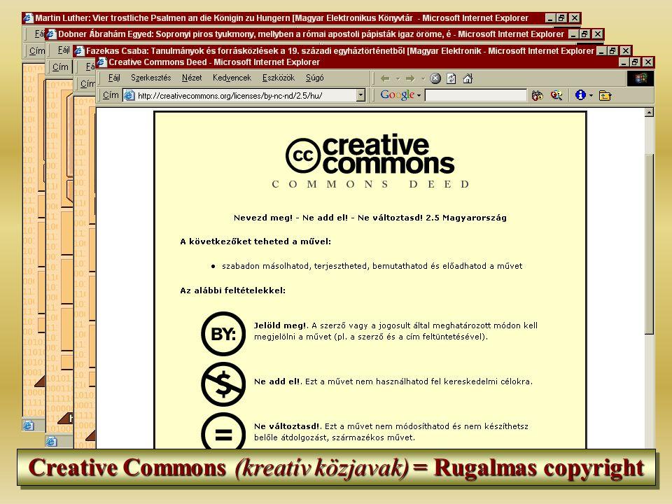 Creative Commons (kreatív közjavak) = Rugalmas copyright
