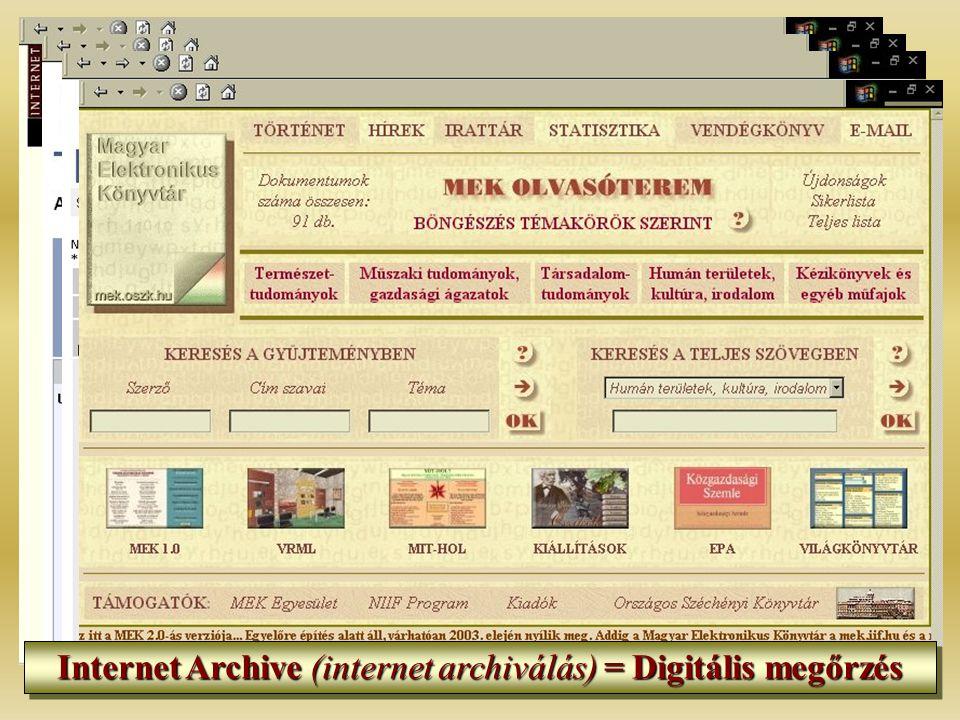 Internet Archive (internet archiválás) = Digitális megőrzés
