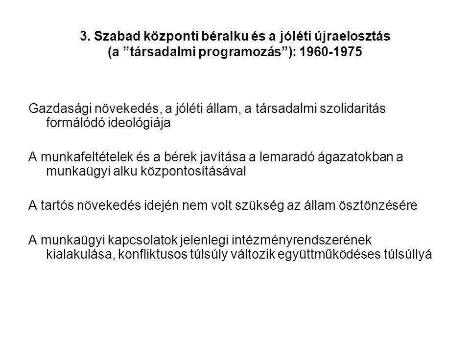 """3. Szabad központi béralku és a jóléti újraelosztás (a """"társadalmi programozás""""): 1960-1975 Gazdasági növekedés, a jóléti állam, a társadalmi szolidar"""