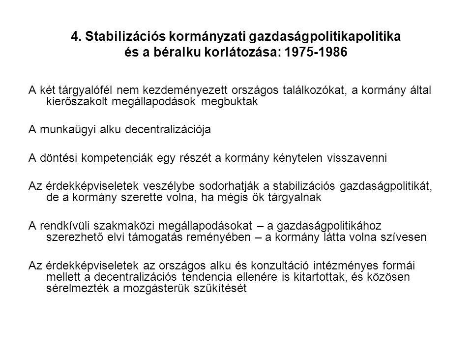 4. Stabilizációs kormányzati gazdaságpolitikapolitika és a béralku korlátozása: 1975-1986 A két tárgyalófél nem kezdeményezett országos találkozókat,