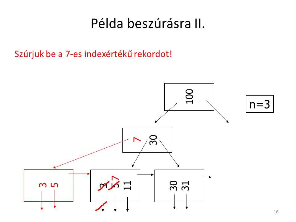 Példa beszúrásra II. 16 n=3 3 5 11 30 31 30 100 3535 7 7 Szúrjuk be a 7-es indexértékű rekordot!