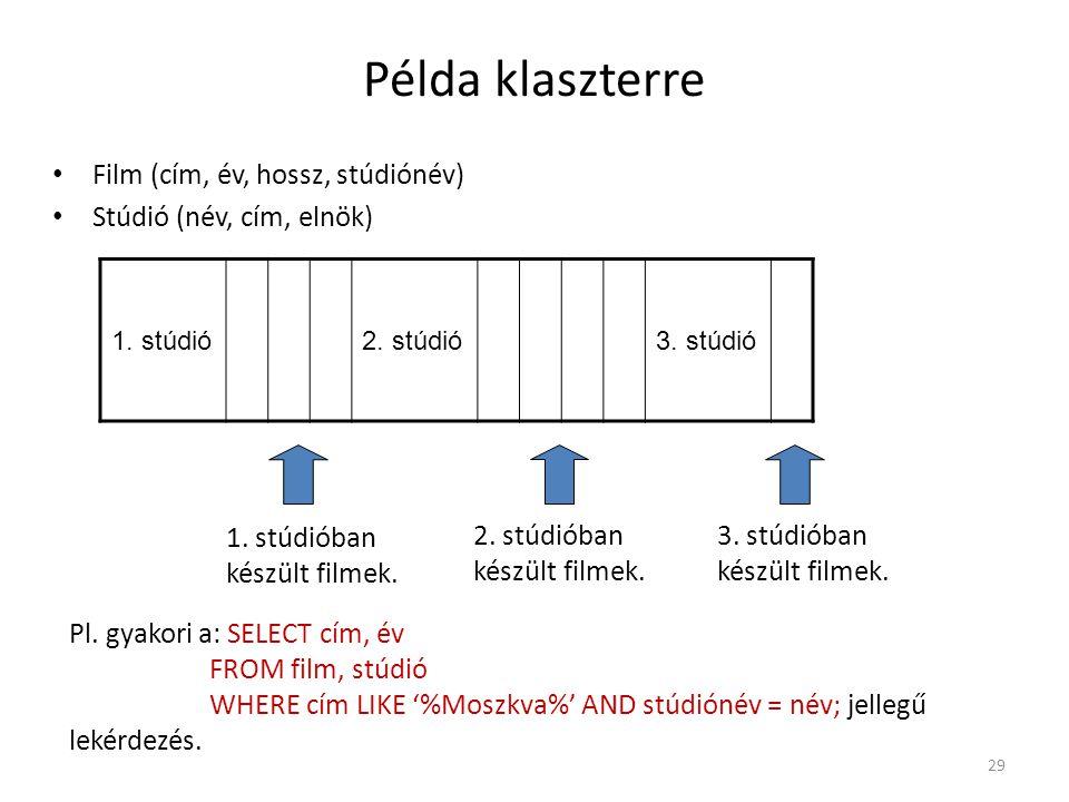 29 Példa klaszterre Film (cím, év, hossz, stúdiónév) Stúdió (név, cím, elnök) 1. stúdió2. stúdió3. stúdió 1. stúdióban készült filmek. 2. stúdióban ké