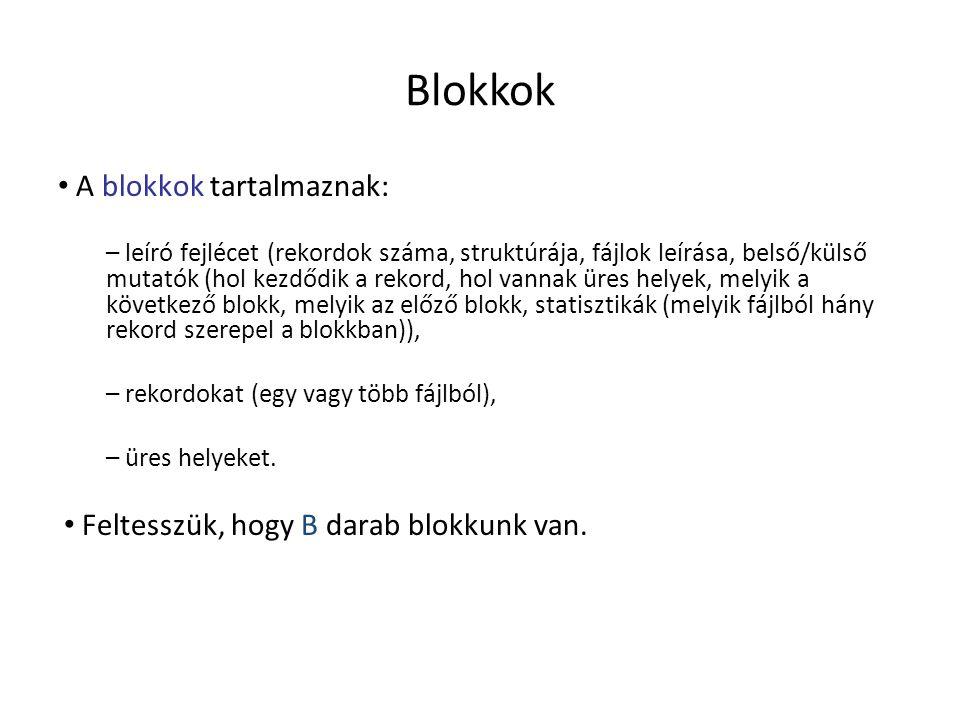 Blokkok A blokkok tartalmaznak: – leíró fejlécet (rekordok száma, struktúrája, fájlok leírása, belső/külső mutatók (hol kezdődik a rekord, hol vannak
