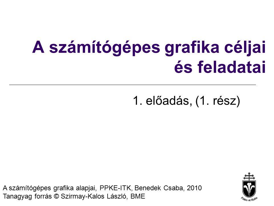 A számítógépes grafika alapjai, PPKE-ITK, Benedek Csaba, 2010 Tanagyag forrás © Szirmay-Kalos László, BME A számítógépes grafika céljai és feladatai 1.