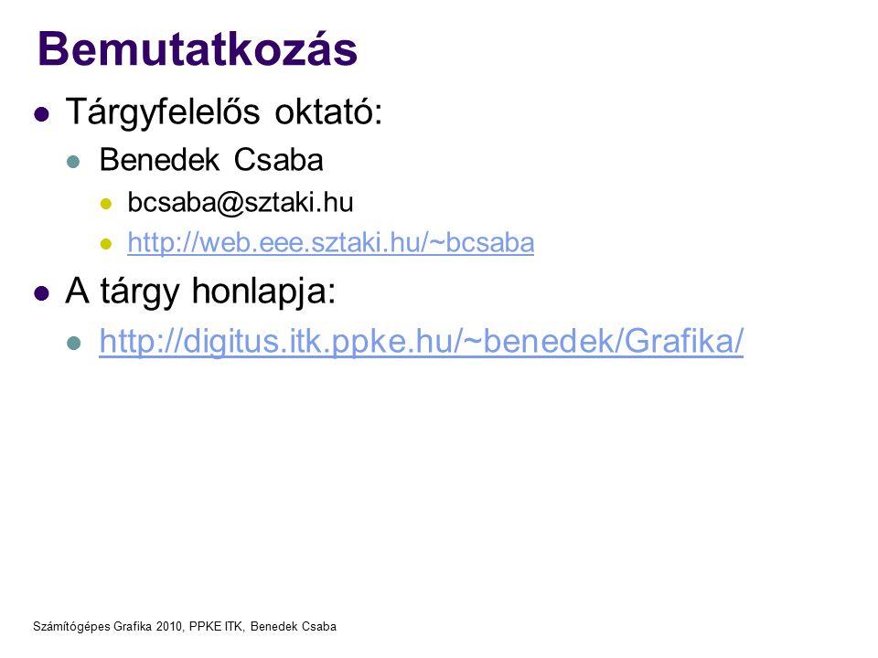 Számítógépes Grafika 2010, PPKE ITK, Benedek Csaba Bemutatkozás Tárgyfelelős oktató: Benedek Csaba bcsaba@sztaki.hu http://web.eee.sztaki.hu/~bcsaba A tárgy honlapja: http://digitus.itk.ppke.hu/~benedek/Grafika/