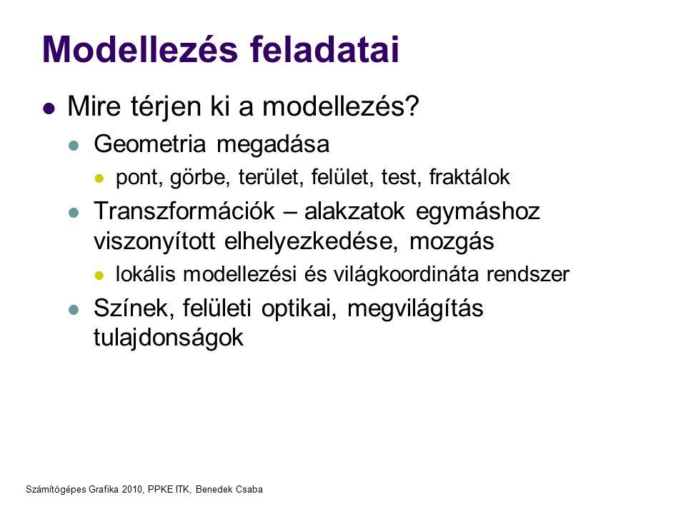 Számítógépes Grafika 2010, PPKE ITK, Benedek Csaba Modellezés feladatai Mire térjen ki a modellezés? Geometria megadása pont, görbe, terület, felület,
