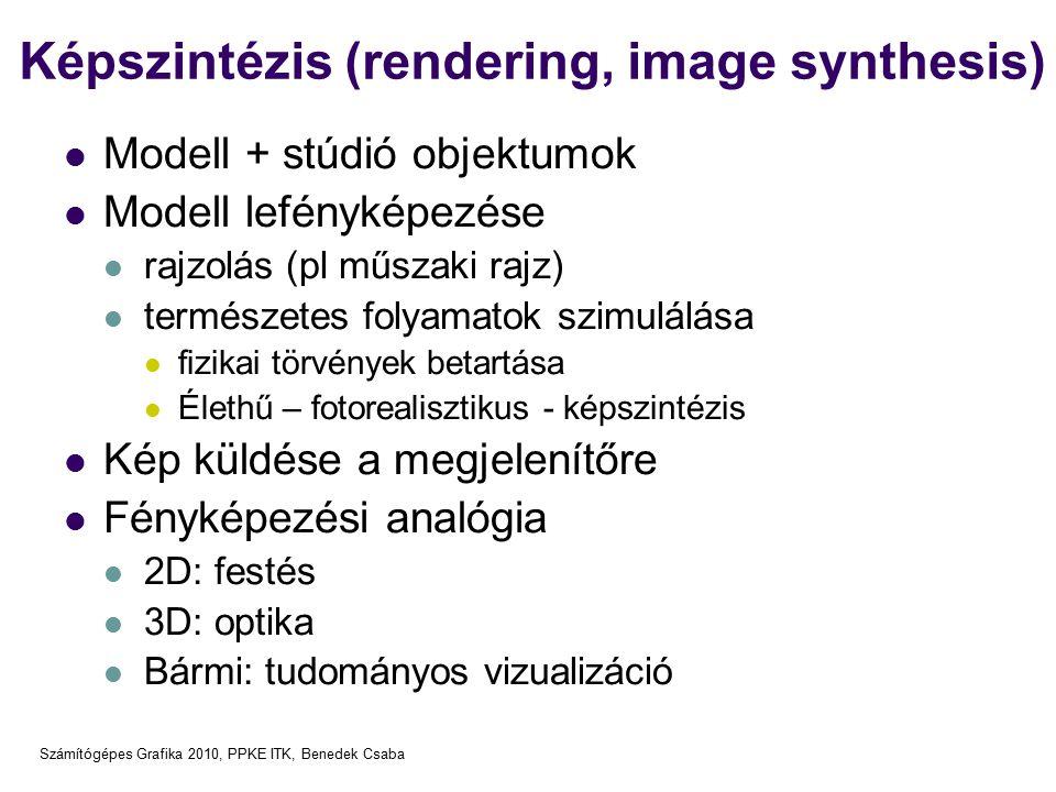 Számítógépes Grafika 2010, PPKE ITK, Benedek Csaba Képszintézis (rendering, image synthesis) Modell + stúdió objektumok Modell lefényképezése rajzolás (pl műszaki rajz) természetes folyamatok szimulálása fizikai törvények betartása Élethű – fotorealisztikus - képszintézis Kép küldése a megjelenítőre Fényképezési analógia 2D: festés 3D: optika Bármi: tudományos vizualizáció