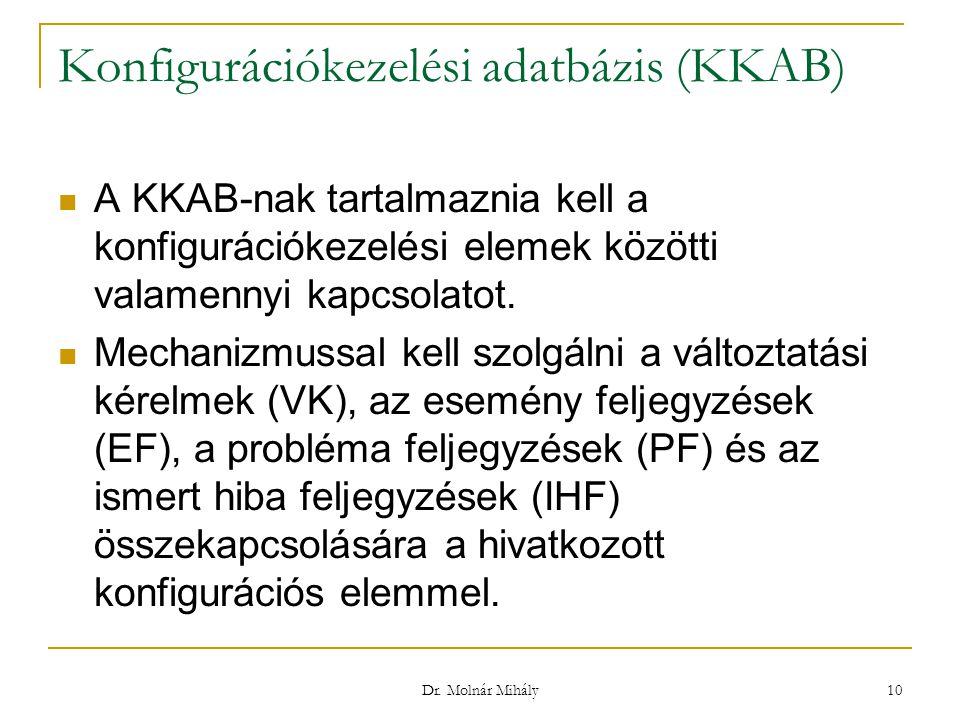 Dr. Molnár Mihály 10 Konfigurációkezelési adatbázis (KKAB) A KKAB-nak tartalmaznia kell a konfigurációkezelési elemek közötti valamennyi kapcsolatot.