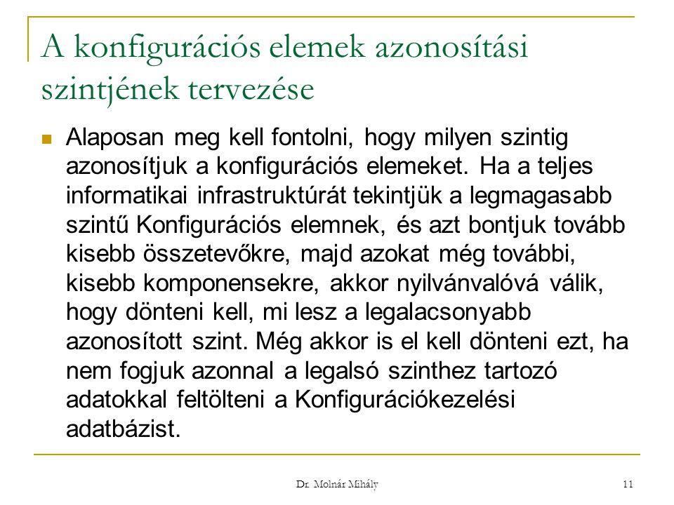 Dr. Molnár Mihály 11 A konfigurációs elemek azonosítási szintjének tervezése Alaposan meg kell fontolni, hogy milyen szintig azonosítjuk a konfiguráci