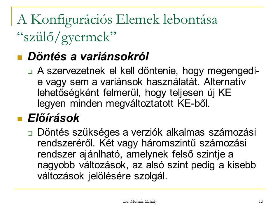 """Dr. Molnár Mihály 13 A Konfigurációs Elemek lebontása """"szülő/gyermek"""" Döntés a variánsokról  A szervezetnek el kell döntenie, hogy megengedi- e vagy"""