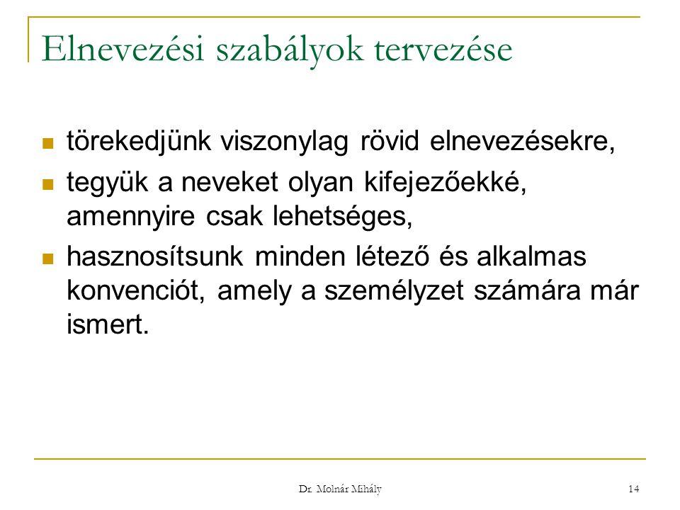 Dr. Molnár Mihály 14 Elnevezési szabályok tervezése törekedjünk viszonylag rövid elnevezésekre, tegyük a neveket olyan kifejezőekké, amennyire csak le