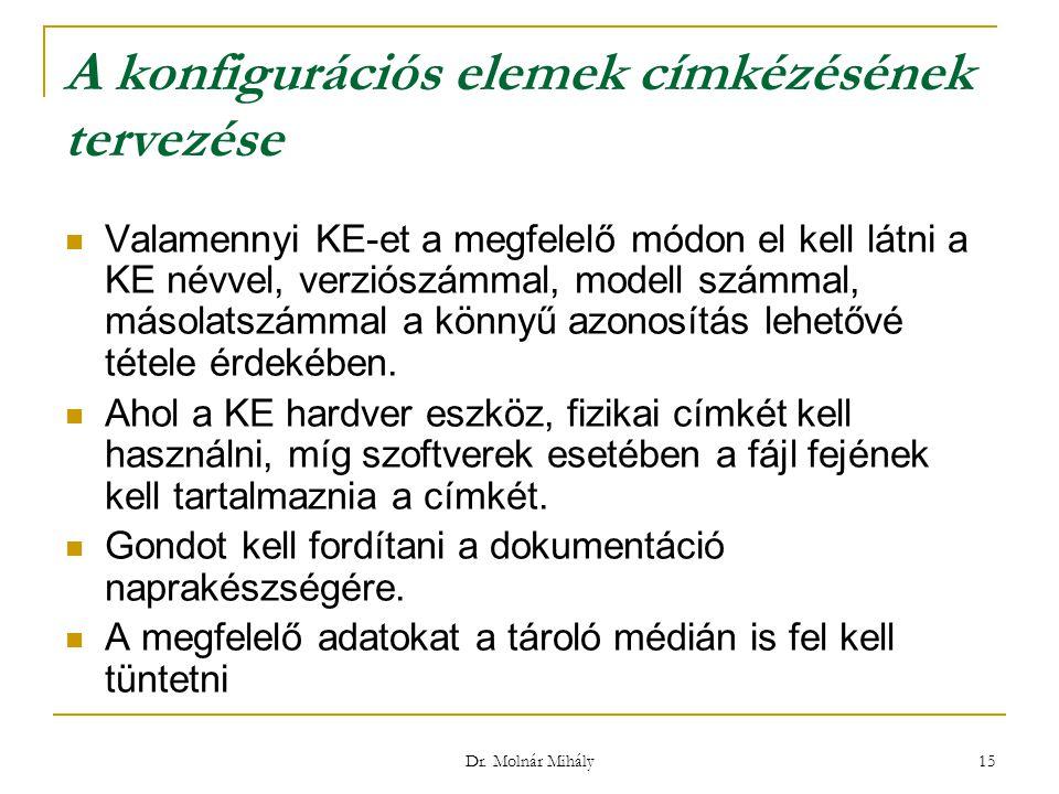 Dr. Molnár Mihály 15 A konfigurációs elemek címkézésének tervezése Valamennyi KE-et a megfelelő módon el kell látni a KE névvel, verziószámmal, modell