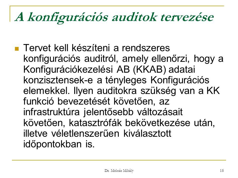 Dr. Molnár Mihály 18 A konfigurációs auditok tervezése Tervet kell készíteni a rendszeres konfigurációs auditról, amely ellenőrzi, hogy a Konfiguráció