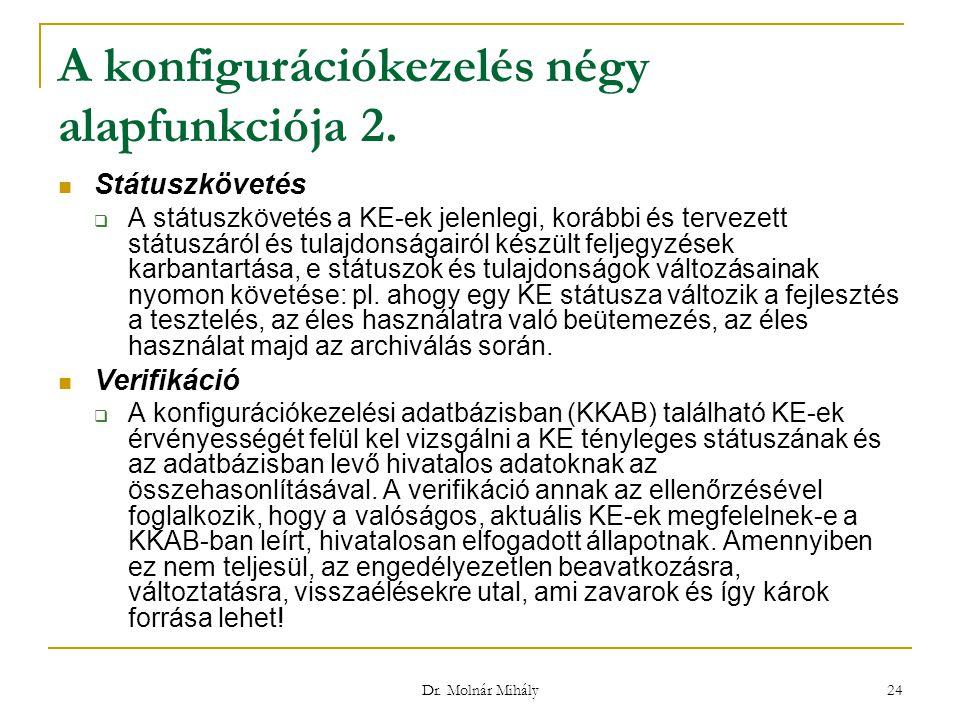 Dr. Molnár Mihály 24 Státuszkövetés  A státuszkövetés a KE-ek jelenlegi, korábbi és tervezett státuszáról és tulajdonságairól készült feljegyzések ka