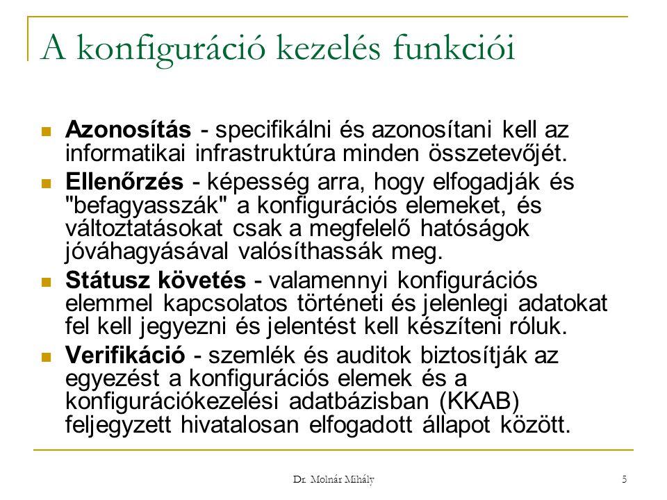 Dr. Molnár Mihály 5 A konfiguráció kezelés funkciói Azonosítás - specifikálni és azonosítani kell az informatikai infrastruktúra minden összetevőjét.