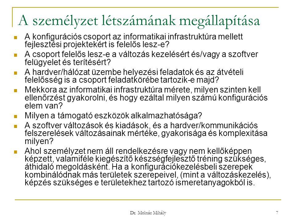Dr. Molnár Mihály 7 A személyzet létszámának megállapítása A konfigurációs csoport az informatikai infrastruktúra mellett fejlesztési projektekért is
