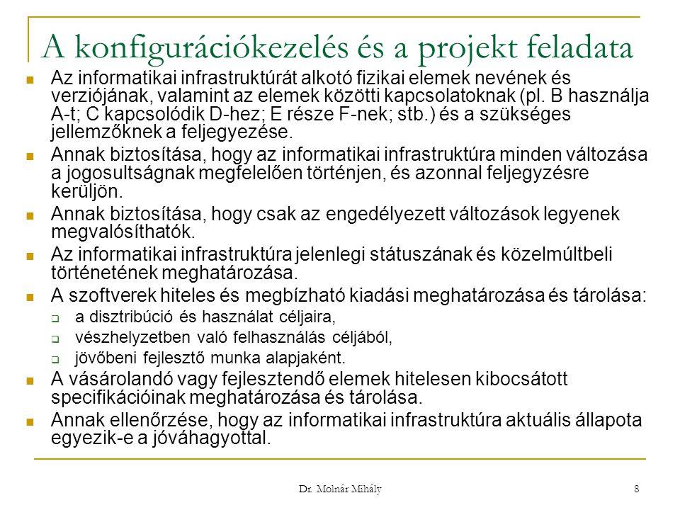 Dr. Molnár Mihály 8 A konfigurációkezelés és a projekt feladata Az informatikai infrastruktúrát alkotó fizikai elemek nevének és verziójának, valamint