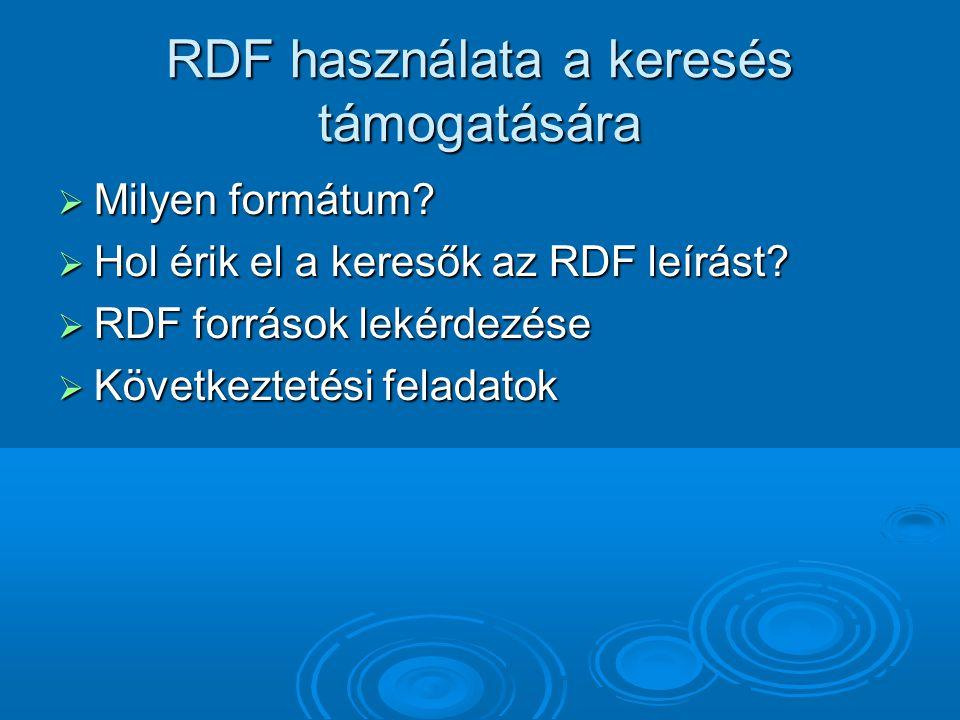 RDF használata a keresés támogatására  Milyen formátum.