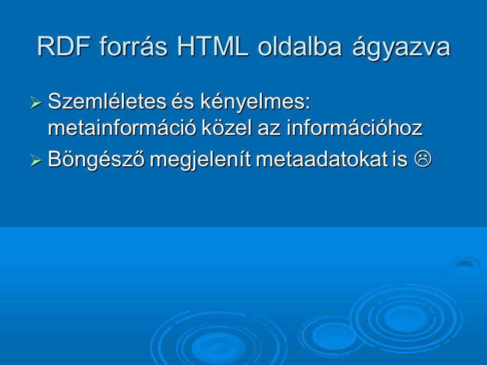 RDF forrás HTML oldalba ágyazva  Szemléletes és kényelmes: metainformáció közel az információhoz  Böngésző megjelenít metaadatokat is 