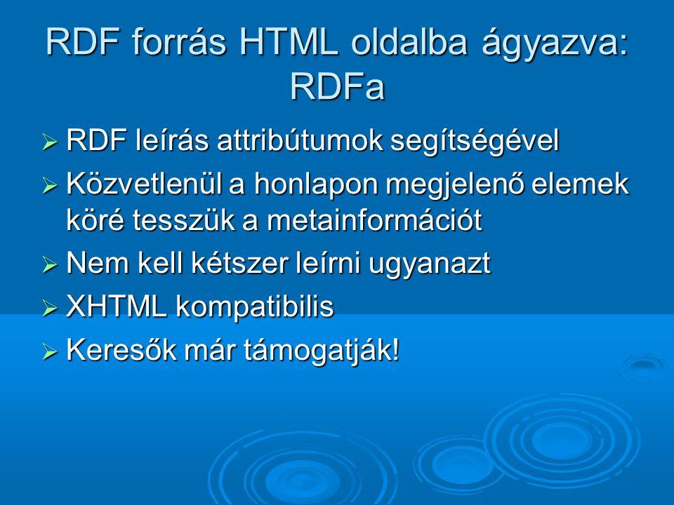 RDF forrás HTML oldalba ágyazva: RDFa  RDF leírás attribútumok segítségével  Közvetlenül a honlapon megjelenő elemek köré tesszük a metainformációt  Nem kell kétszer leírni ugyanazt  XHTML kompatibilis  Keresők már támogatják!