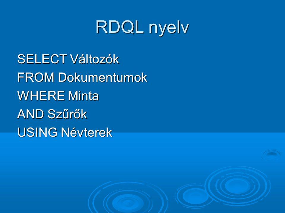 RDQL nyelv SELECT Változók FROM Dokumentumok WHERE Minta AND Szűrők USING Névterek