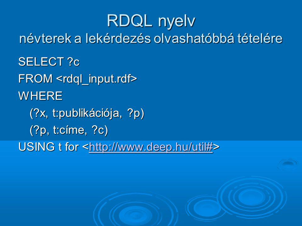 RDQL nyelv névterek a lekérdezés olvashatóbbá tételére SELECT ?c FROM FROM WHERE (?x, t:publikációja, ?p) (?p, t:címe, ?c) USING t for USING t for http://www.deep.hu/util#