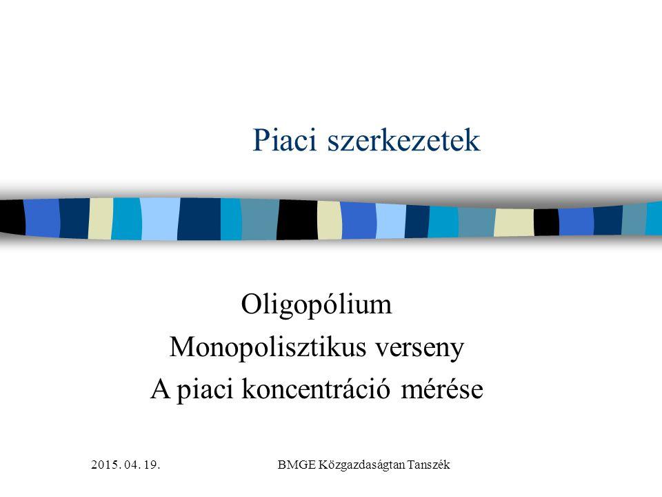2015. 04. 19.BMGE Közgazdaságtan Tanszék Piaci szerkezetek Oligopólium Monopolisztikus verseny A piaci koncentráció mérése