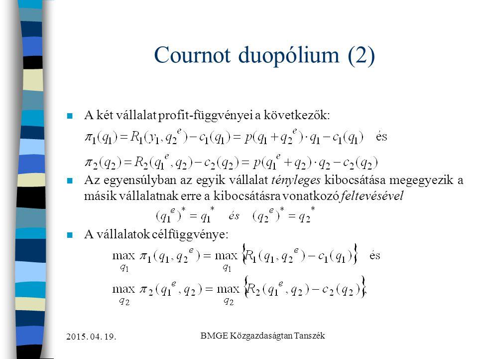 2015. 04. 19. BMGE Közgazdaságtan Tanszék Cournot duopólium (2) n A két vállalat profit-függvényei a következők: n Az egyensúlyban az egyik vállalat t