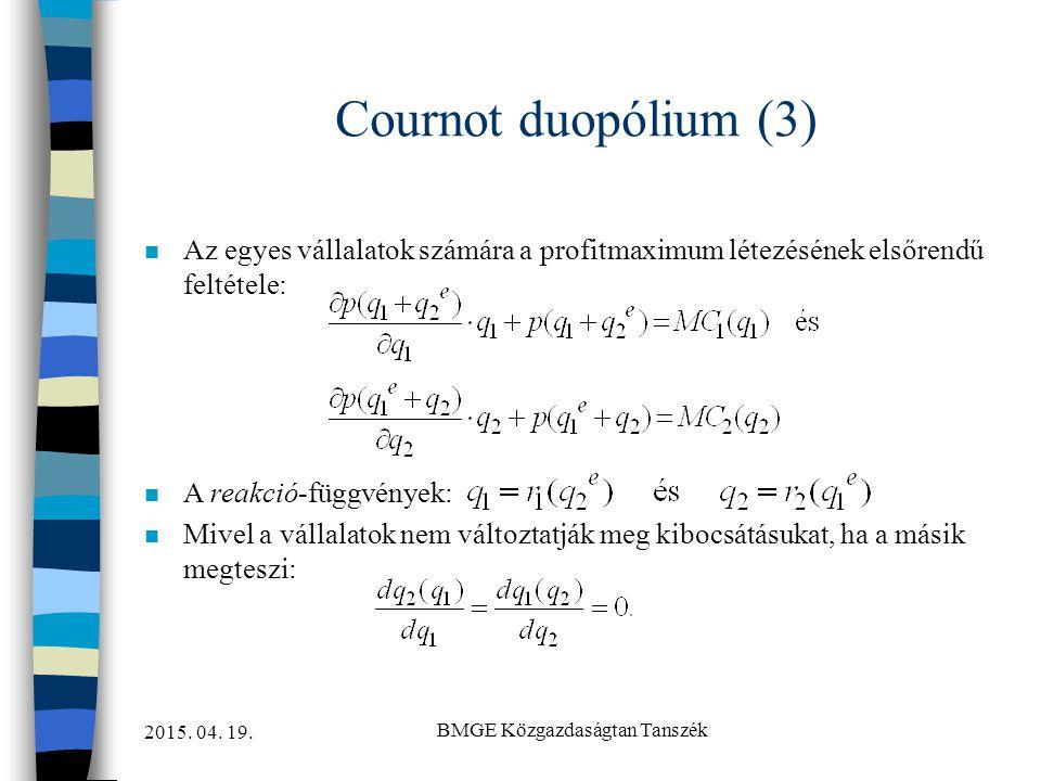 2015. 04. 19. BMGE Közgazdaságtan Tanszék Cournot duopólium (3) n Az egyes vállalatok számára a profitmaximum létezésének elsőrendű feltétele: n A rea
