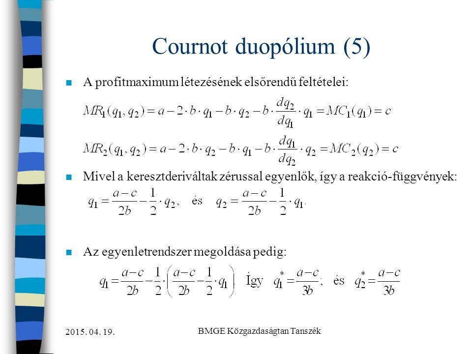 2015. 04. 19. BMGE Közgazdaságtan Tanszék Cournot duopólium (5) n A profitmaximum létezésének elsőrendű feltételei: n Mivel a keresztderiváltak zéruss