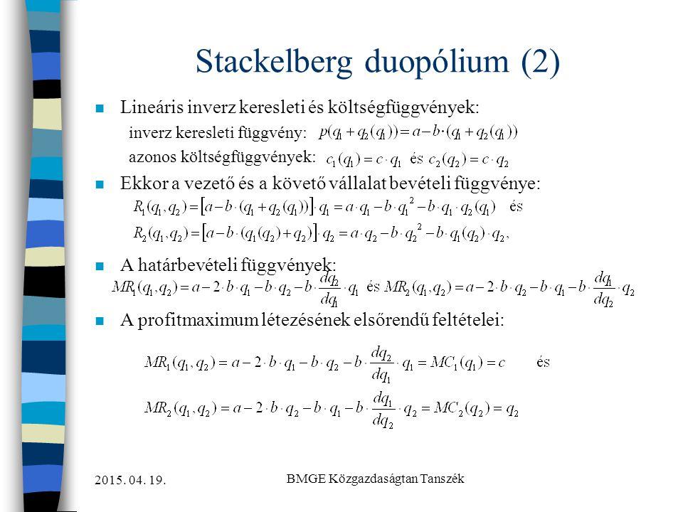 2015. 04. 19. BMGE Közgazdaságtan Tanszék Stackelberg duopólium (2) n Lineáris inverz keresleti és költségfüggvények: inverz keresleti függvény: azono