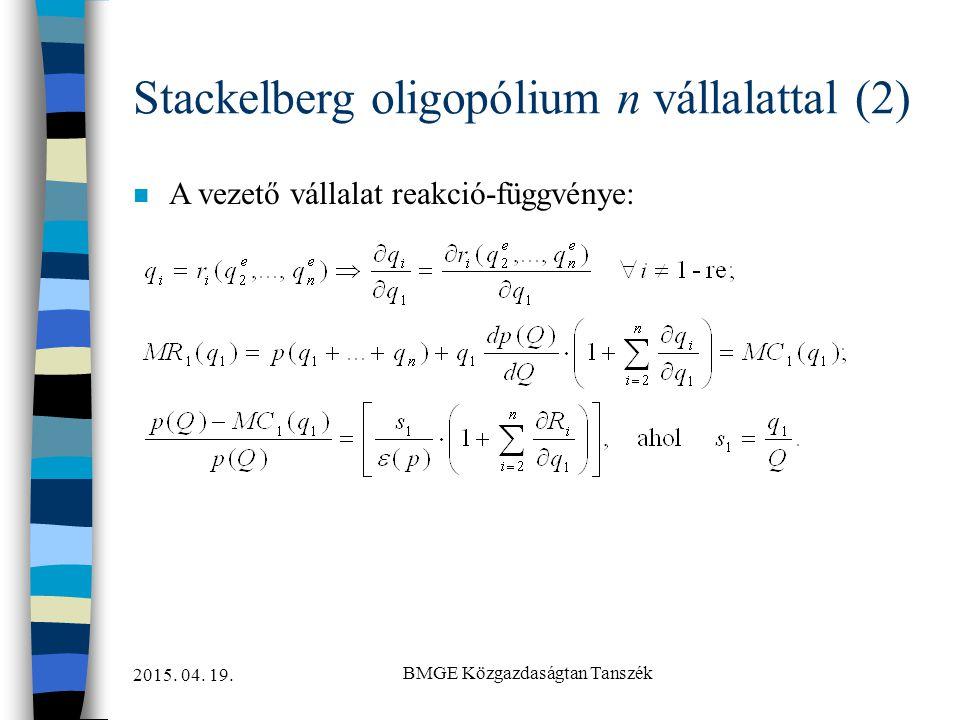 2015. 04. 19. BMGE Közgazdaságtan Tanszék Stackelberg oligopólium n vállalattal (2) n A vezető vállalat reakció-függvénye: