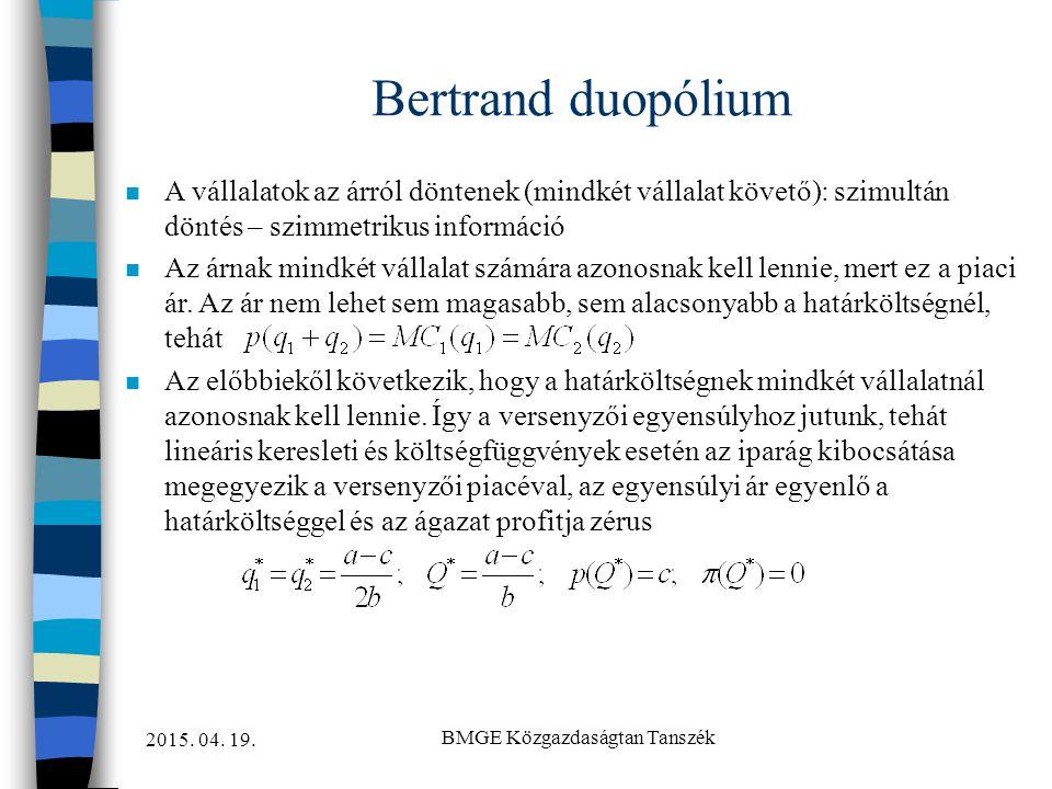 2015. 04. 19. BMGE Közgazdaságtan Tanszék Bertrand duopólium n A vállalatok az árról döntenek (mindkét vállalat követő): szimultán döntés – szimmetrik