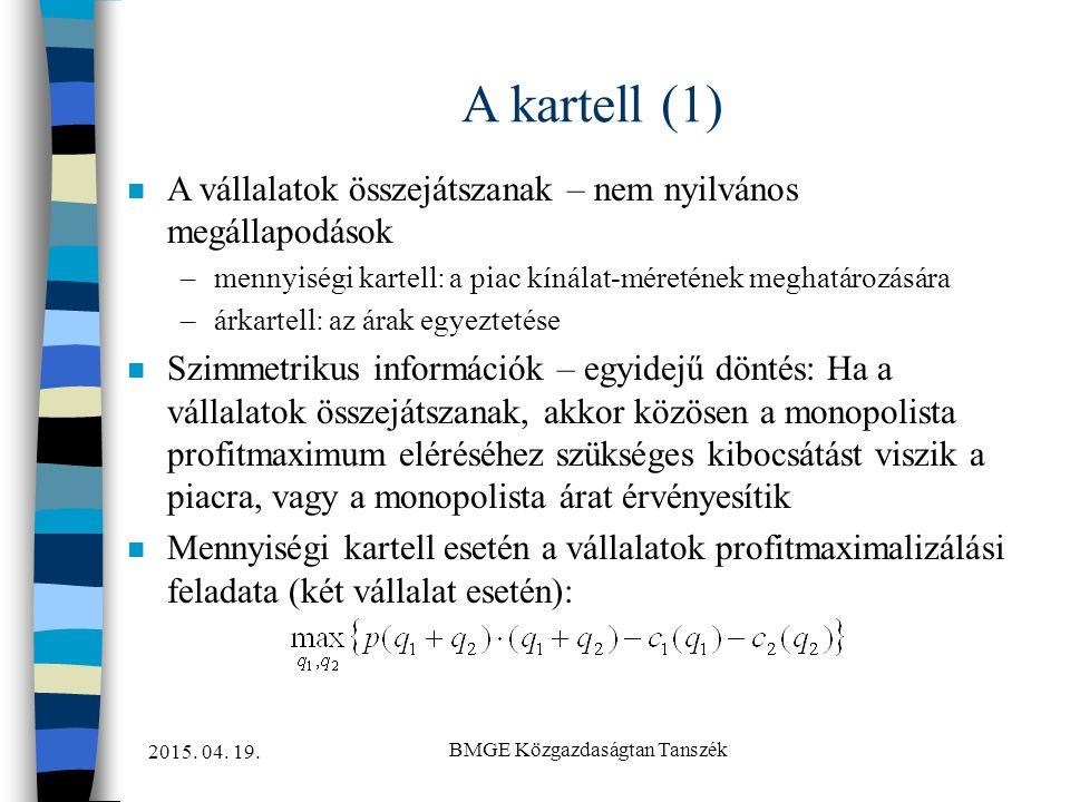 2015. 04. 19. BMGE Közgazdaságtan Tanszék A kartell (1) n A vállalatok összejátszanak – nem nyilvános megállapodások –mennyiségi kartell: a piac kínál