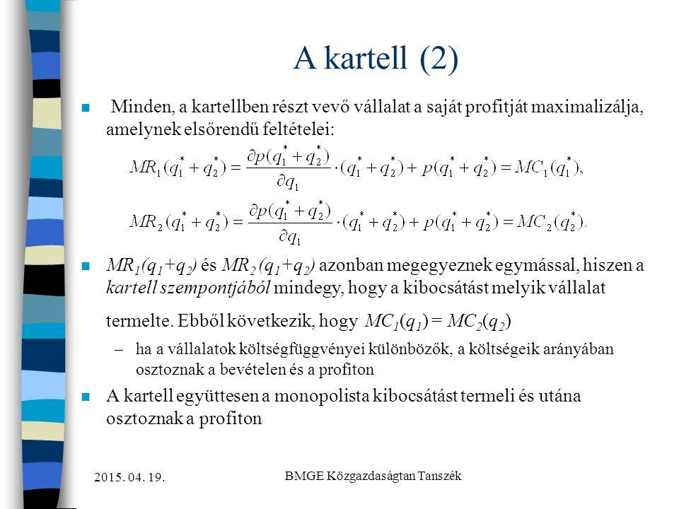 2015. 04. 19. BMGE Közgazdaságtan Tanszék A kartell (2) n Minden, a kartellben részt vevő vállalat a saját profitját maximalizálja, amelynek elsőrendű