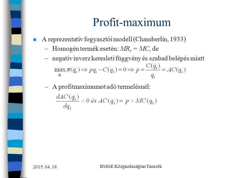 2015. 04. 19. BMGE Közgazdaságtan Tanszék Profit-maximum n A reprezentatív fogyasztói modell (Chamberlin, 1933) –Homogén termék esetén: MR r = MC, de