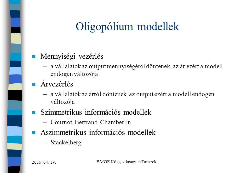 2015. 04. 19. BMGE Közgazdaságtan Tanszék Oligopólium modellek n Mennyiségi vezérlés –a vállalatok az output mennyiségéről döntenek, az ár ezért a mod