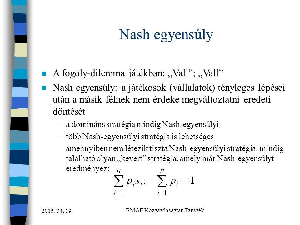 """2015. 04. 19. BMGE Közgazdaságtan Tanszék Nash egyensúly n A fogoly-dilemma játékban: """"Vall""""; """"Vall"""" n Nash egyensúly: a játékosok (vállalatok) tényle"""