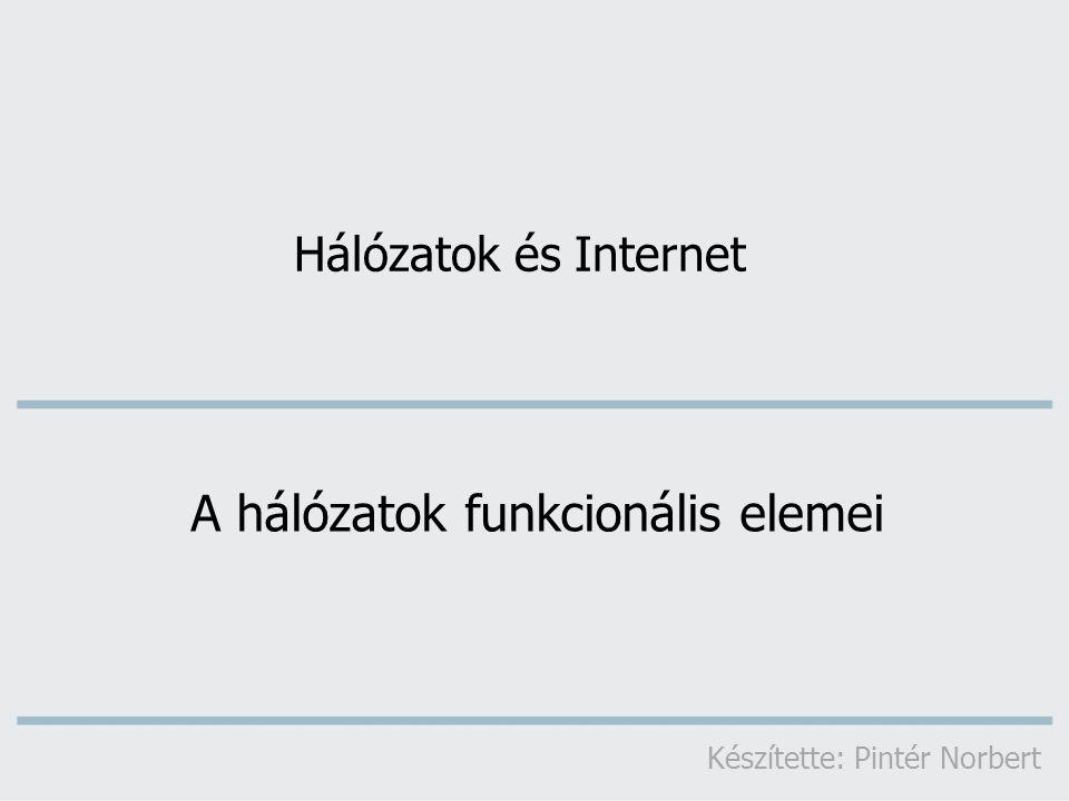 Hálózatok és Internet A hálózatok funkcionális elemei Készítette: Pintér Norbert
