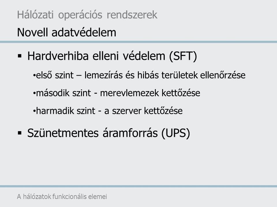  Hardverhiba elleni védelem (SFT) első szint – lemezírás és hibás területek ellenőrzése második szint - merevlemezek kettőzése harmadik szint - a sze
