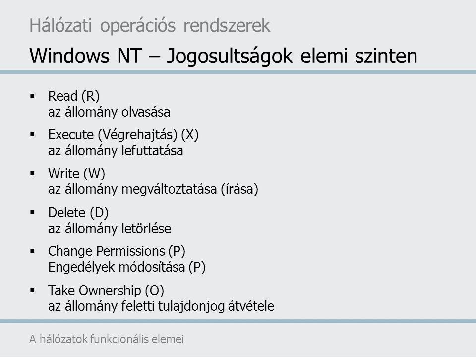 Windows NT – Jogosultságok elemi szinten A hálózatok funkcionális elemei Hálózati operációs rendszerek  Read (R) az állomány olvasása  Execute (Végr