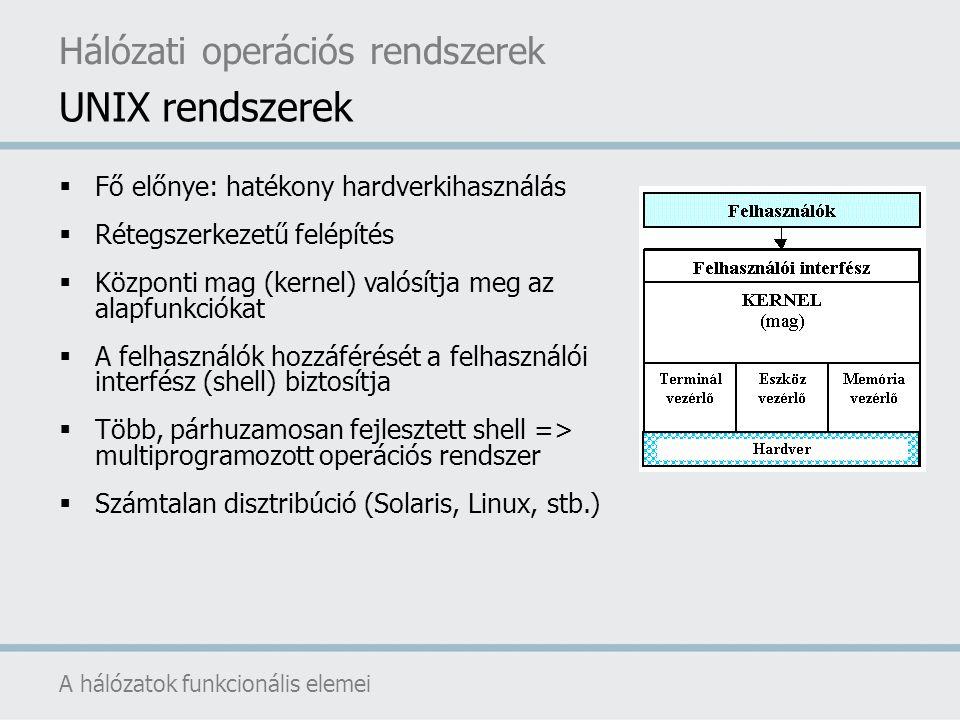  Fő előnye: hatékony hardverkihasználás  Rétegszerkezetű felépítés  Központi mag (kernel) valósítja meg az alapfunkciókat  A felhasználók hozzáfér