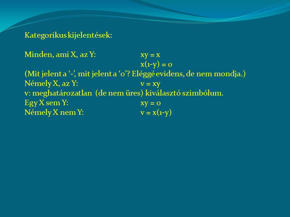 Kategorikus kijelentések: Minden, ami X, az Y: xy = x x(1-y) = 0 (Mit jelent a '-', mit jelent a '0'.
