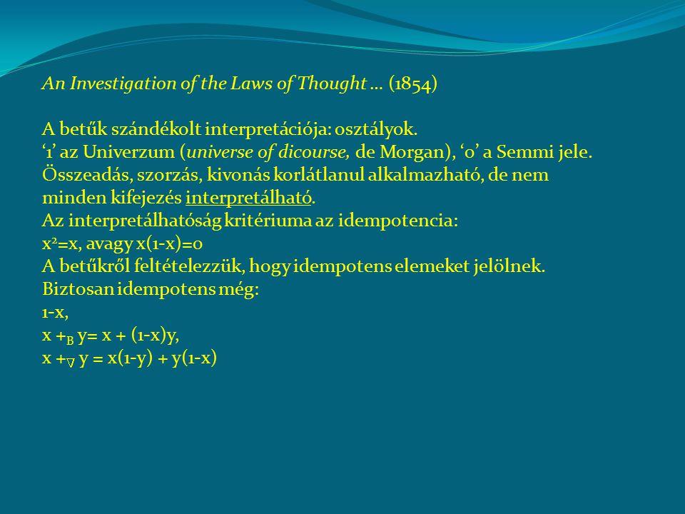 An Investigation of the Laws of Thought … (1854) A betűk szándékolt interpretációja: osztályok.