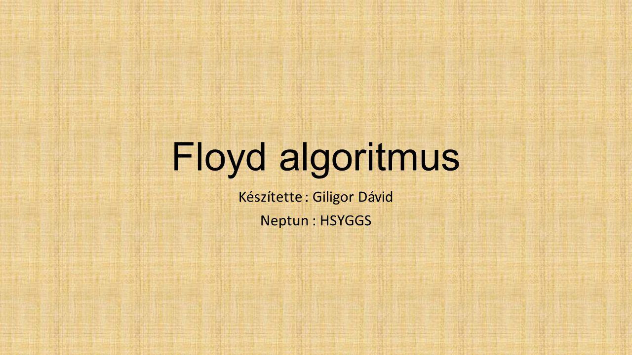 Floyd algoritmus Készítette : Giligor Dávid Neptun : HSYGGS