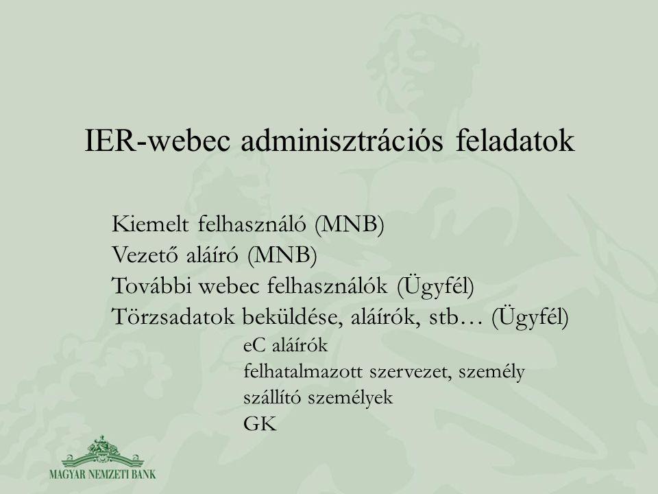 IER-webec adminisztrációs feladatok Kiemelt felhasználó (MNB) Vezető aláíró (MNB) További webec felhasználók (Ügyfél) Törzsadatok beküldése, aláírók, stb… (Ügyfél) eC aláírók felhatalmazott szervezet, személy szállító személyek GK