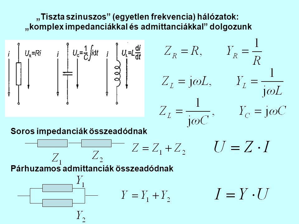 """""""Tiszta szinuszos"""" (egyetlen frekvencia) hálózatok: """"komplex impedanciákkal és admittanciákkal"""" dolgozunk Soros impedanciák összeadódnak Párhuzamos ad"""