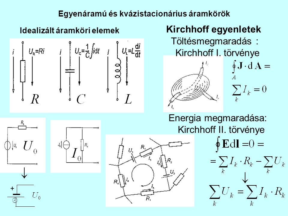 Egyenáramú és kvázistacionárius áramkörök Idealizált áramköri elemek Kirchhoff egyenletek Töltésmegmaradás : Kirchhoff I. törvénye Energia megmaradása